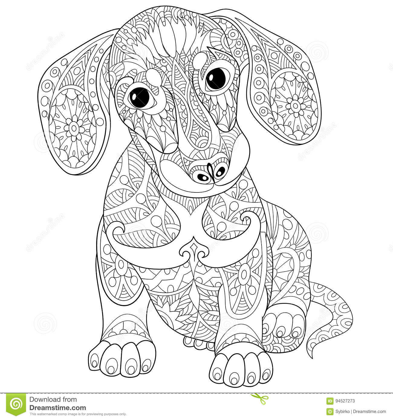 Zentangle A Stylise Le Chiot De Teckel Illustration De