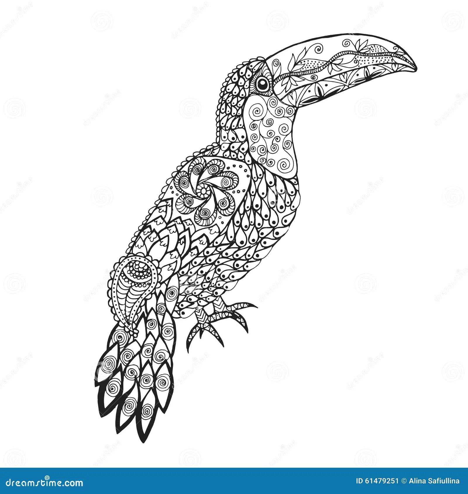 Zentangle A Stylise Le Toucan Illustration De Vecteur