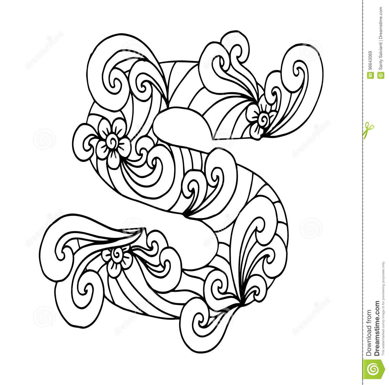 Zentangle Stylized Alphabet. Letter S In Doodle Style