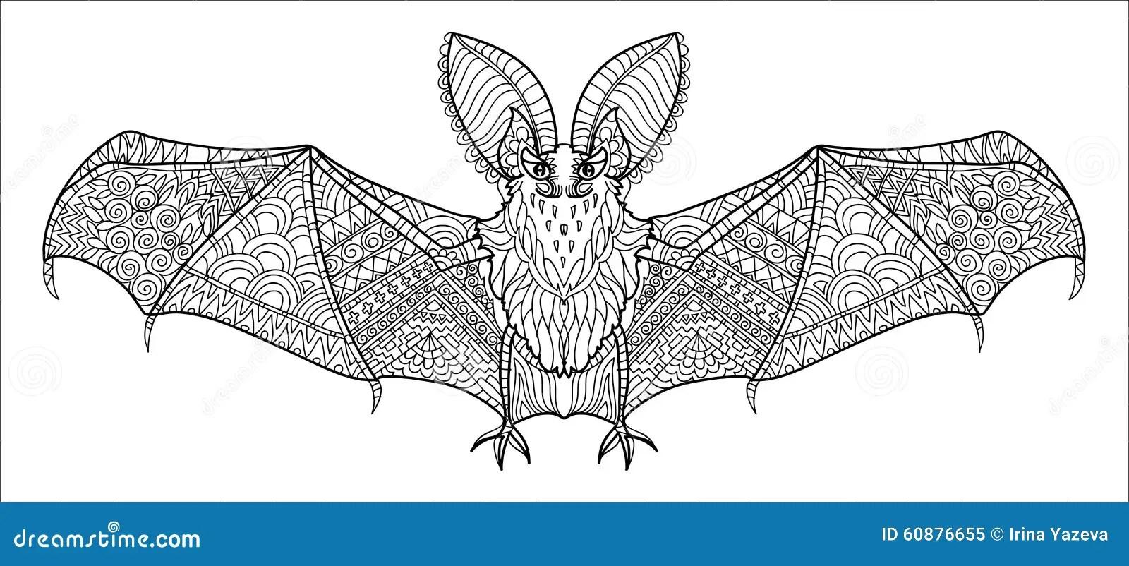 Zentangle stylized bat. stock vector. Illustration of
