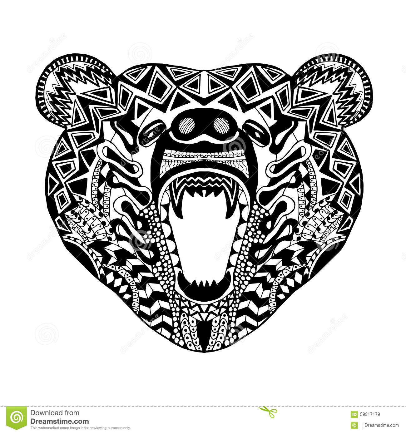 Zentangle Stylized Bear Sketch For Tattoo Or T Shirt