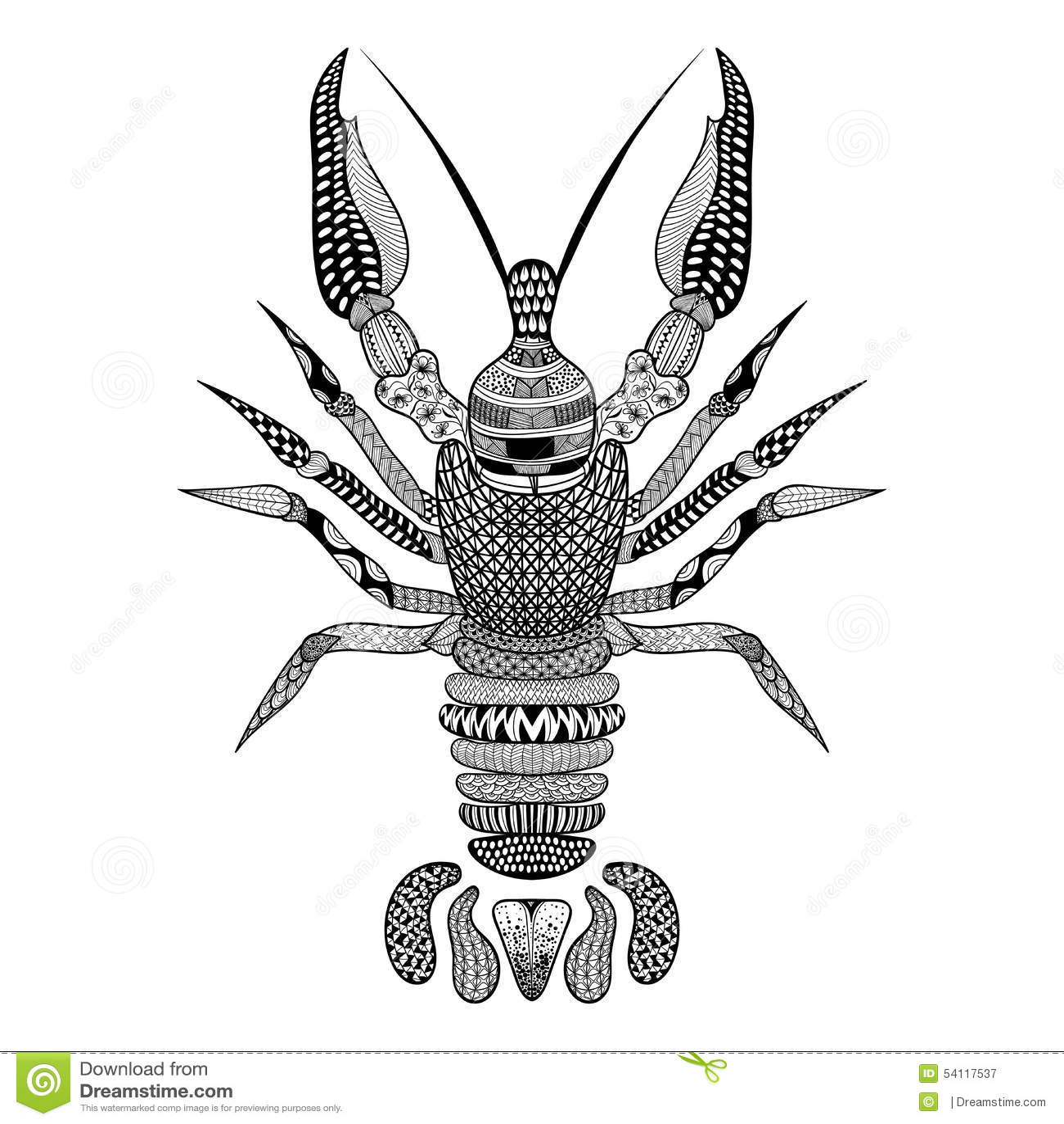 Zentangle Stylized Black Crawfish Hand Drawn Crayfish