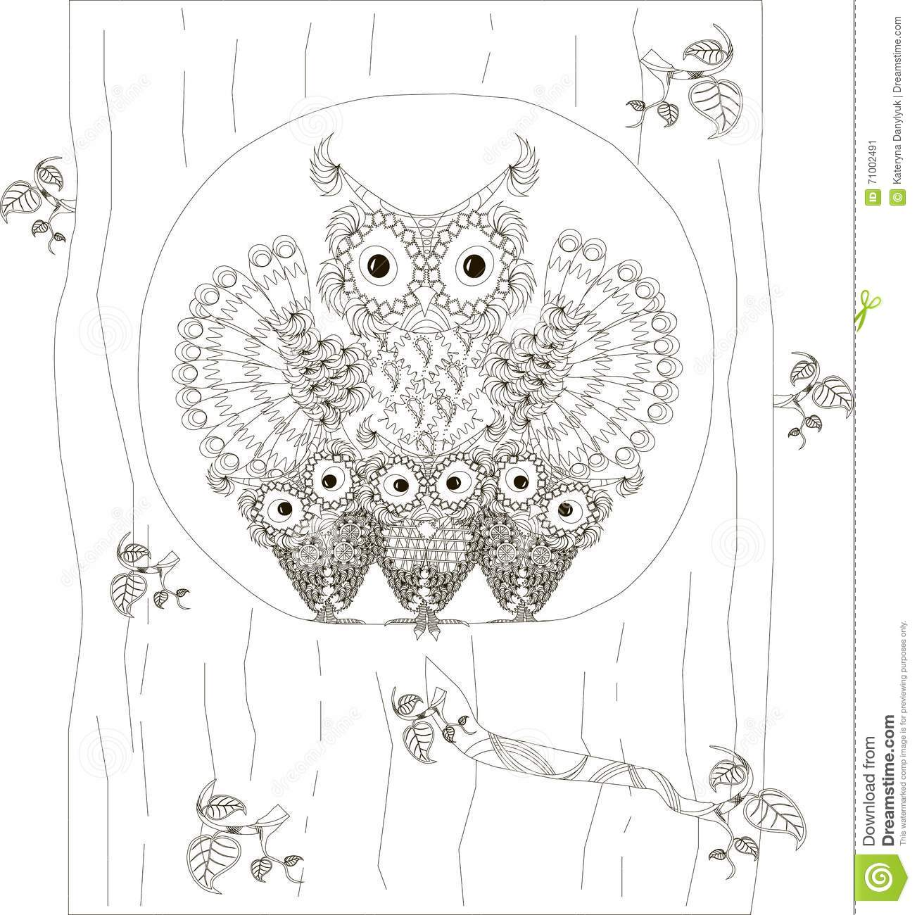 Zentangle Stylized Black And White Owls Family Sitting In