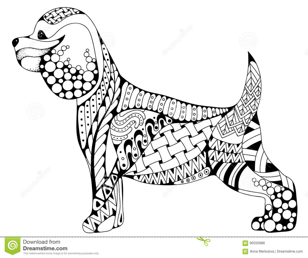 Zentangle Stylized Cartoon Cocker Spaniel Dog Isolated On