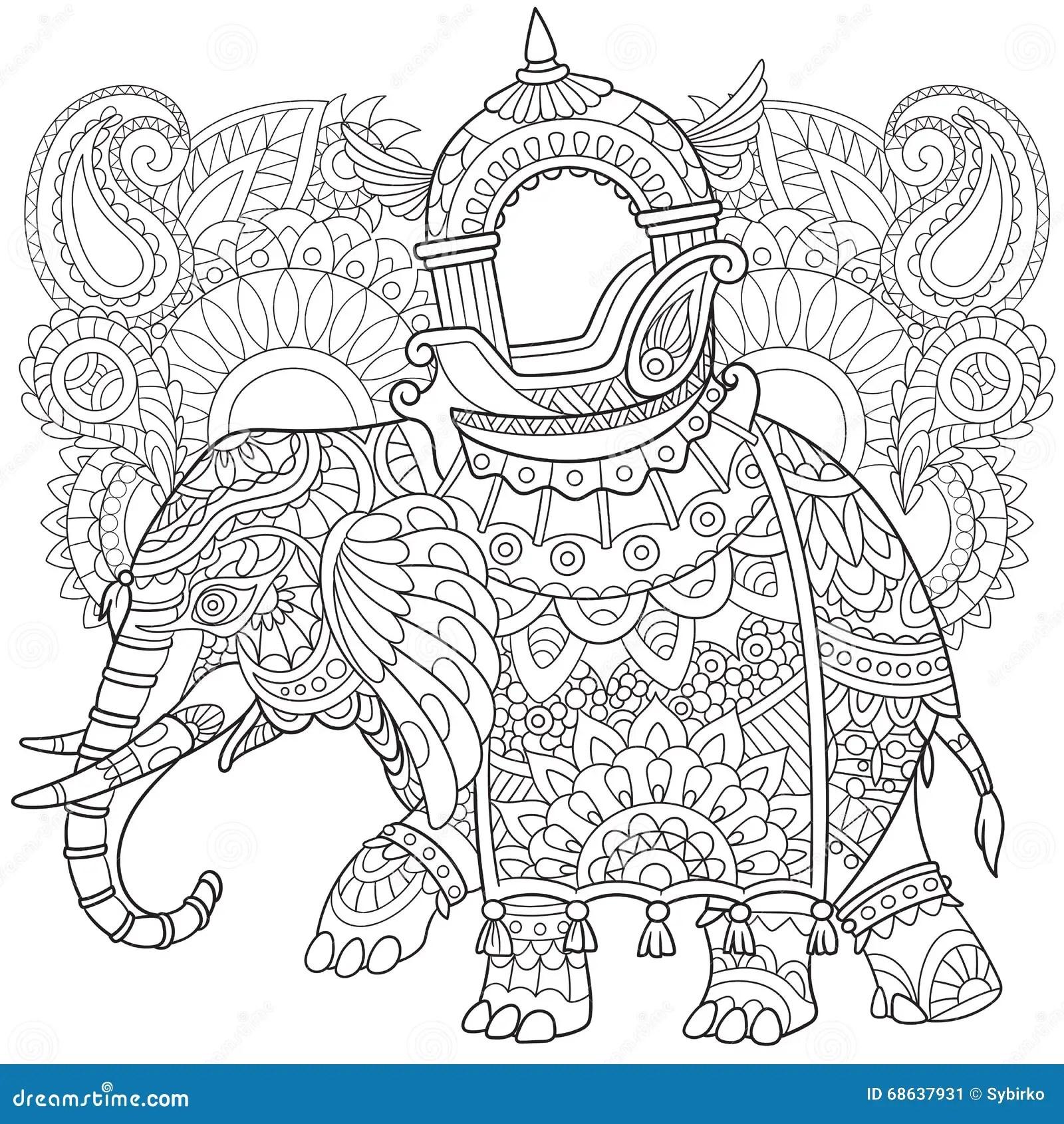 Zentangle Stylized Elephant Stock Vector Illustration