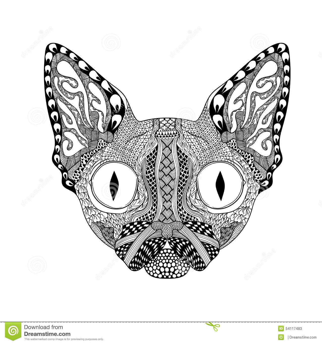 Zentangle Stylized Face Of Black Cat Hand Drawn Sphinx