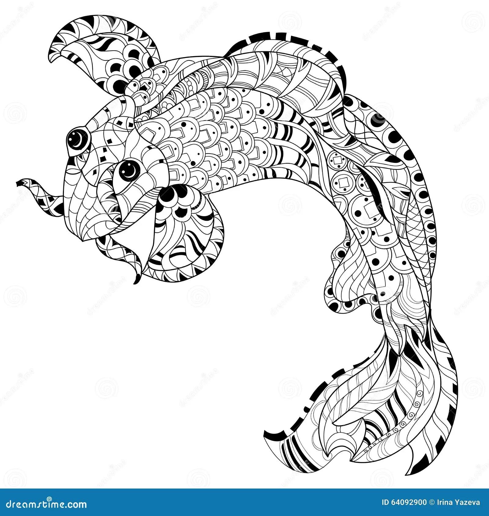 Zentangle Stylized Floral China Fish Carp Doodle Stock