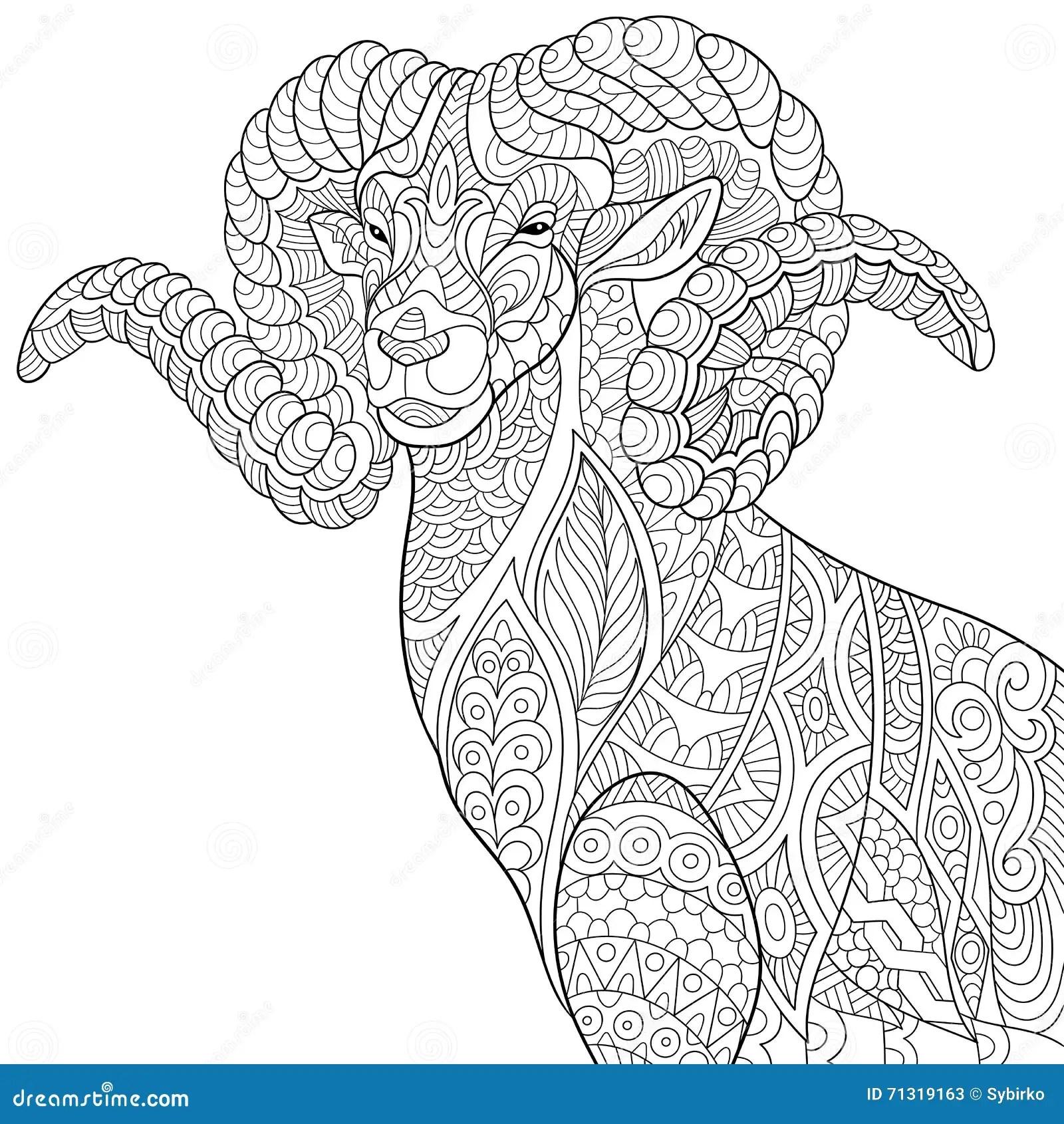 Zentangle Stylized Goat Stock Vector Illustration Of Folk