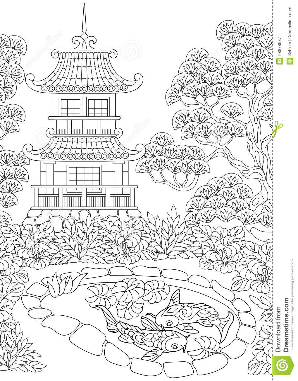 Zentangle stylized pagoda stock vector Illustration of color  98878687