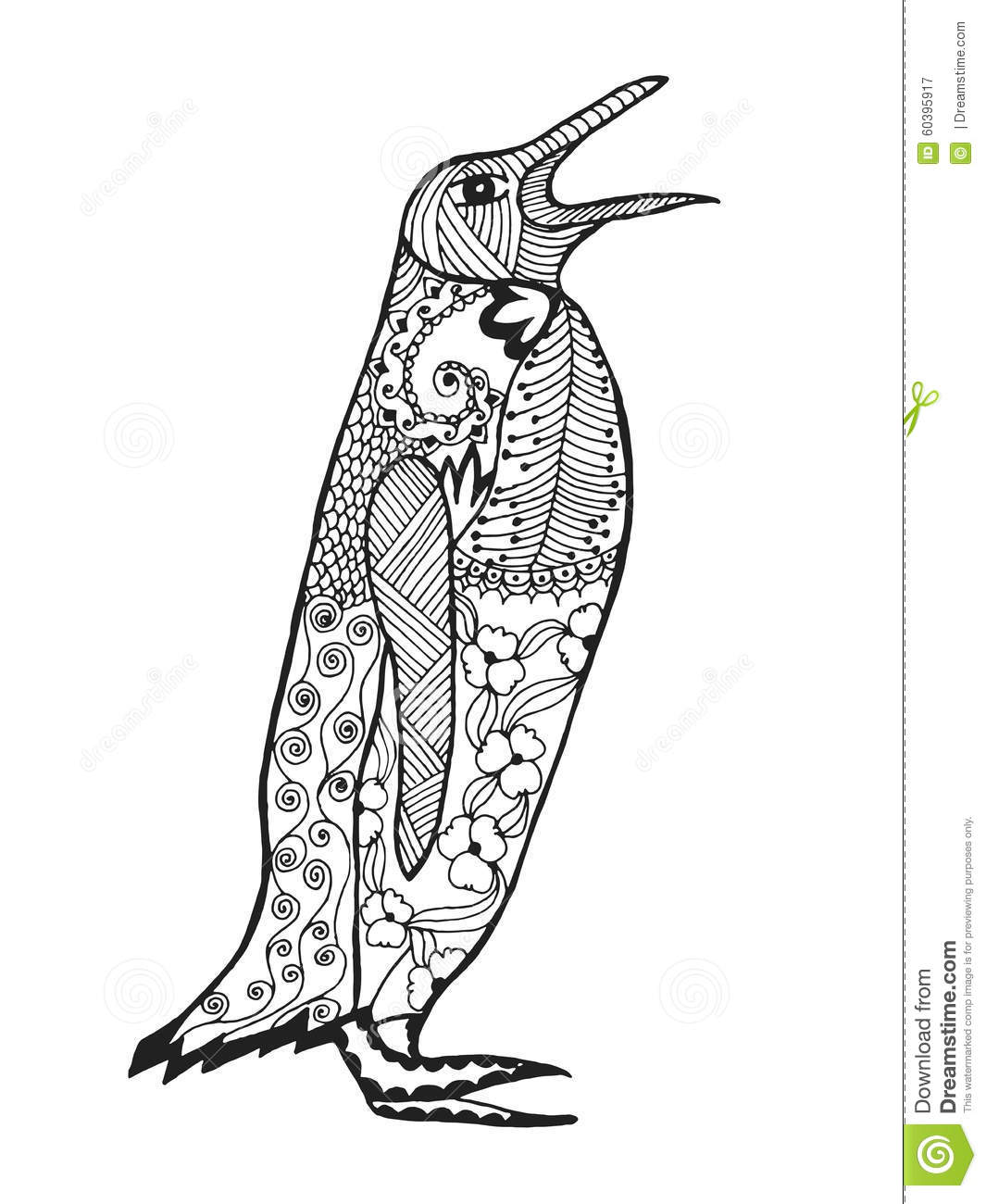 Zentangle Stylized Penguin. Sketch For Tattoo Or T-shirt