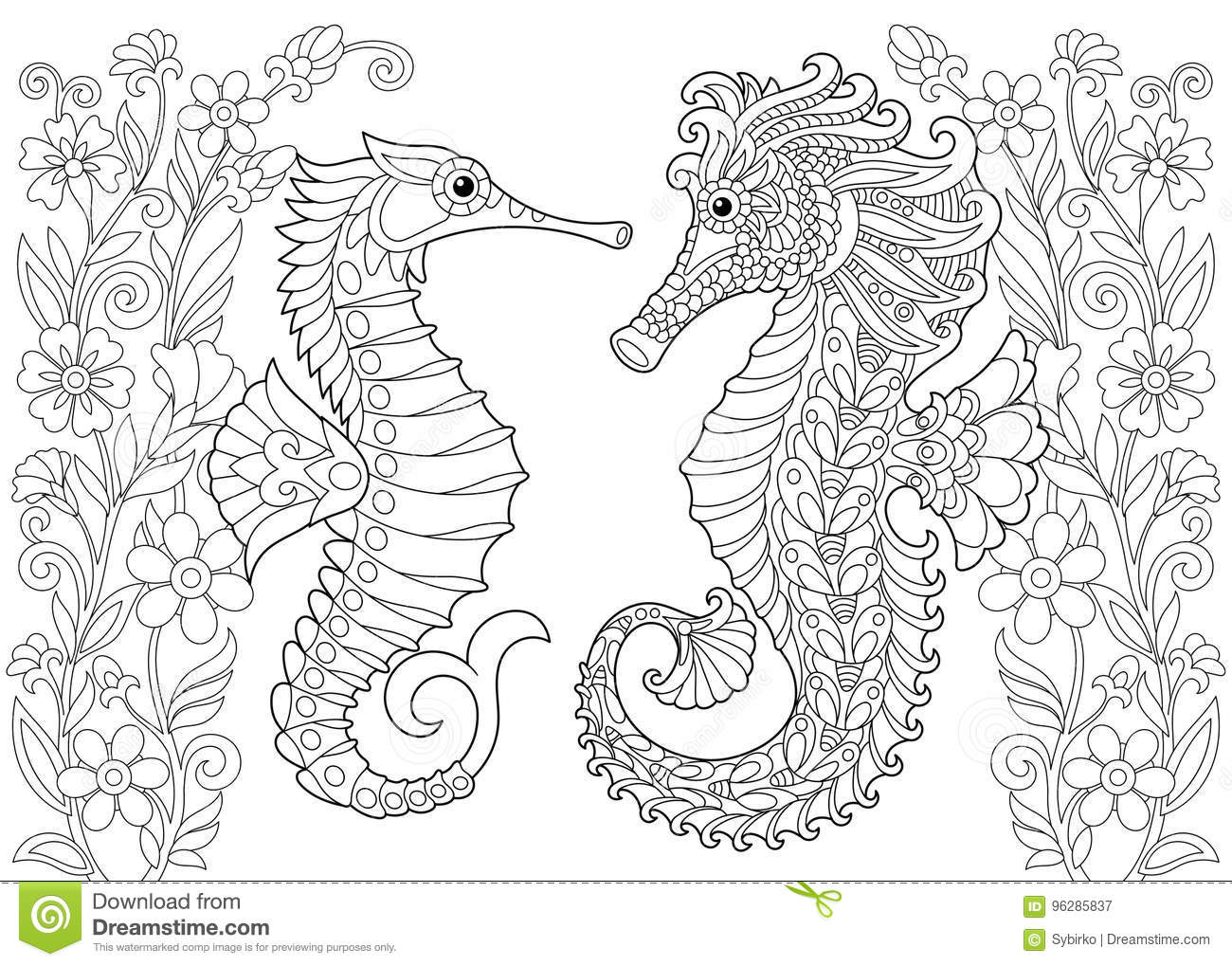Zentangle Stylized Seahorse Cartoon Vector