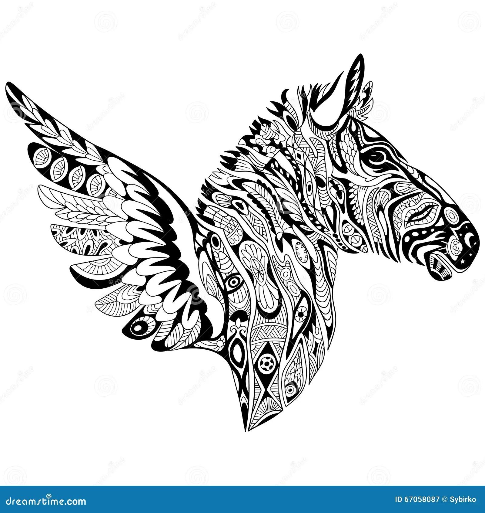Zentangle Stylized Zebra With Wings Stock Vector
