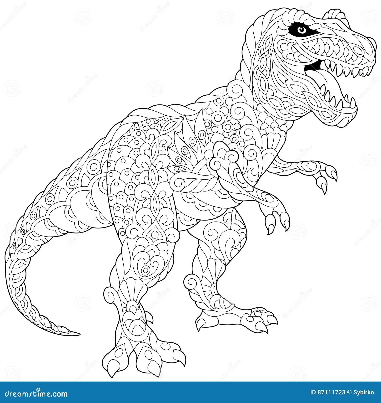 Zentangle Tyrannosaurus Dinosaur Stock Vector