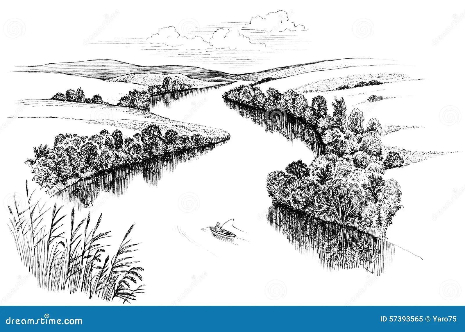 Zigzag River Stock Illustration Image Of Black Boat