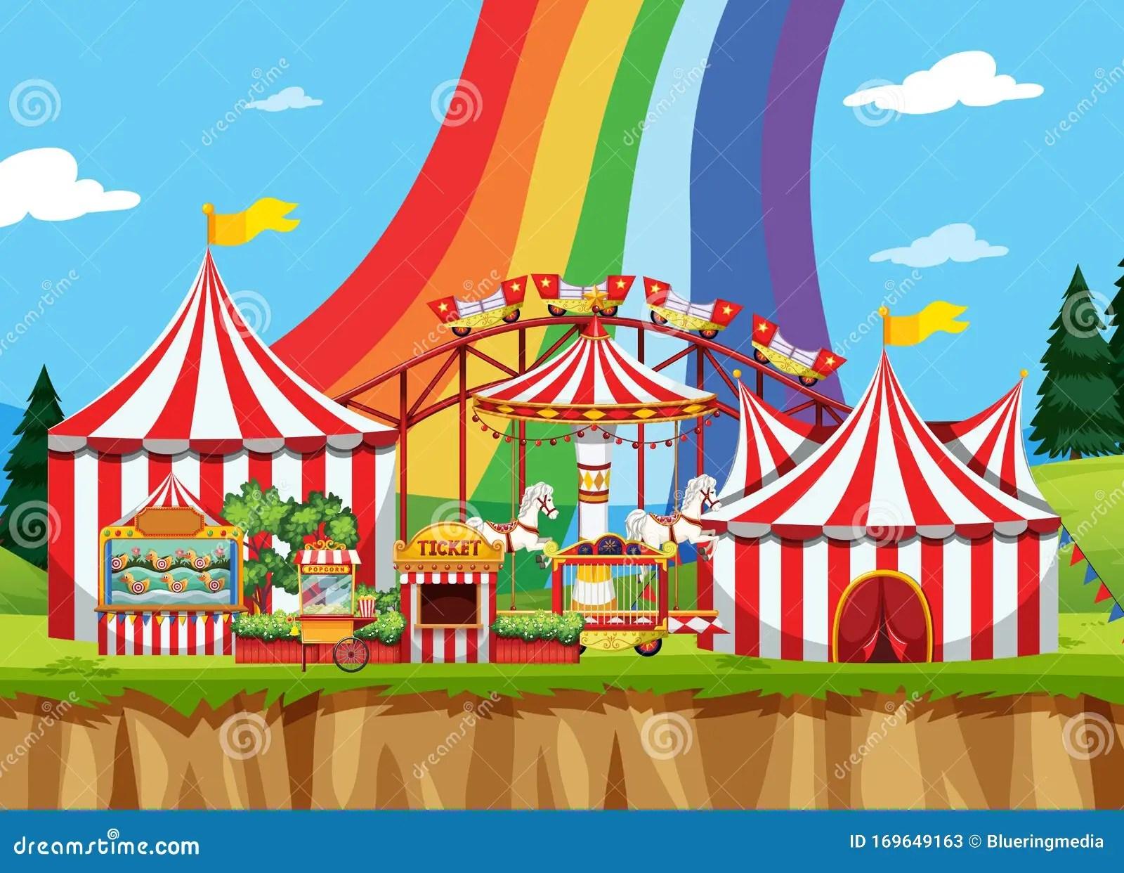 Zirkus-Szene Mit Regenbogen Am Himmel Vektor Abbildung