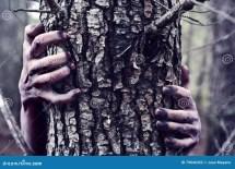 Zombie Monster Hiding Tree Stock