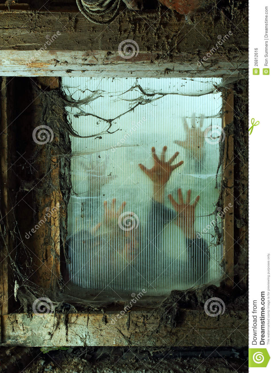 Zombies outside a window stock photo Image of cobweb  26812616