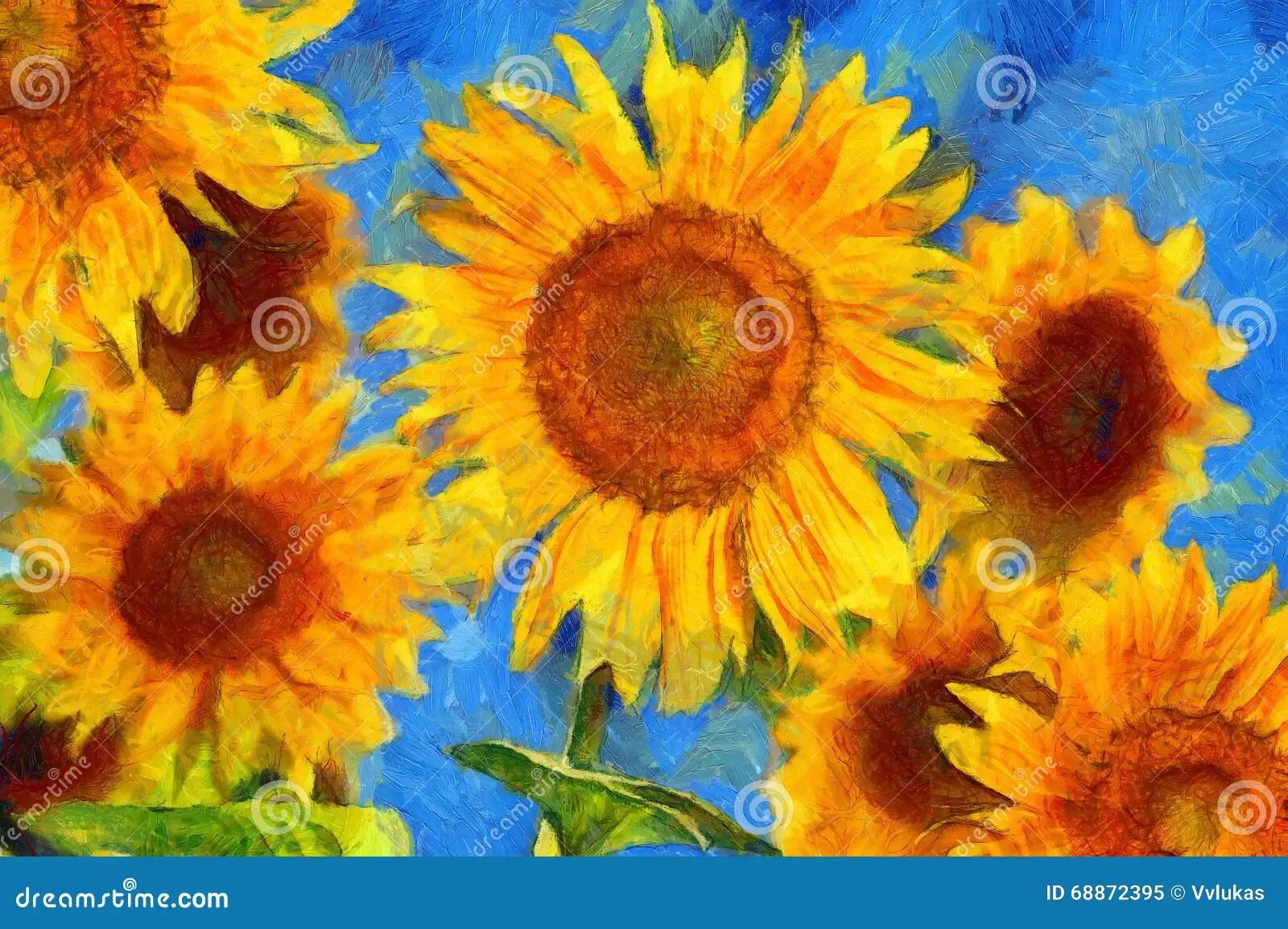 Zonnebloemen Van Goghstijlimitatie Stock Illustratie
