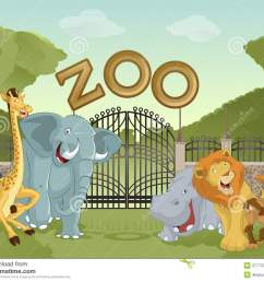 vector image of cartoon zoo with animals stock illustration [ 1300 x 1066 Pixel ]