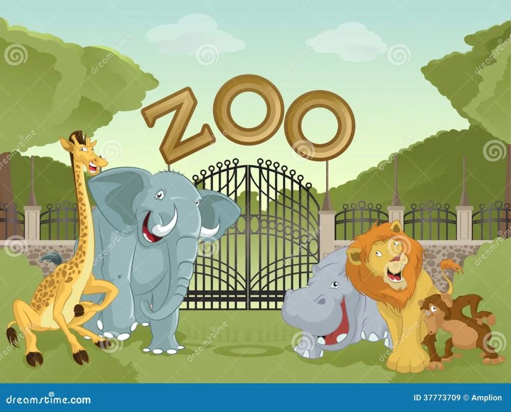 medium resolution of vector image of cartoon zoo with animals stock illustration