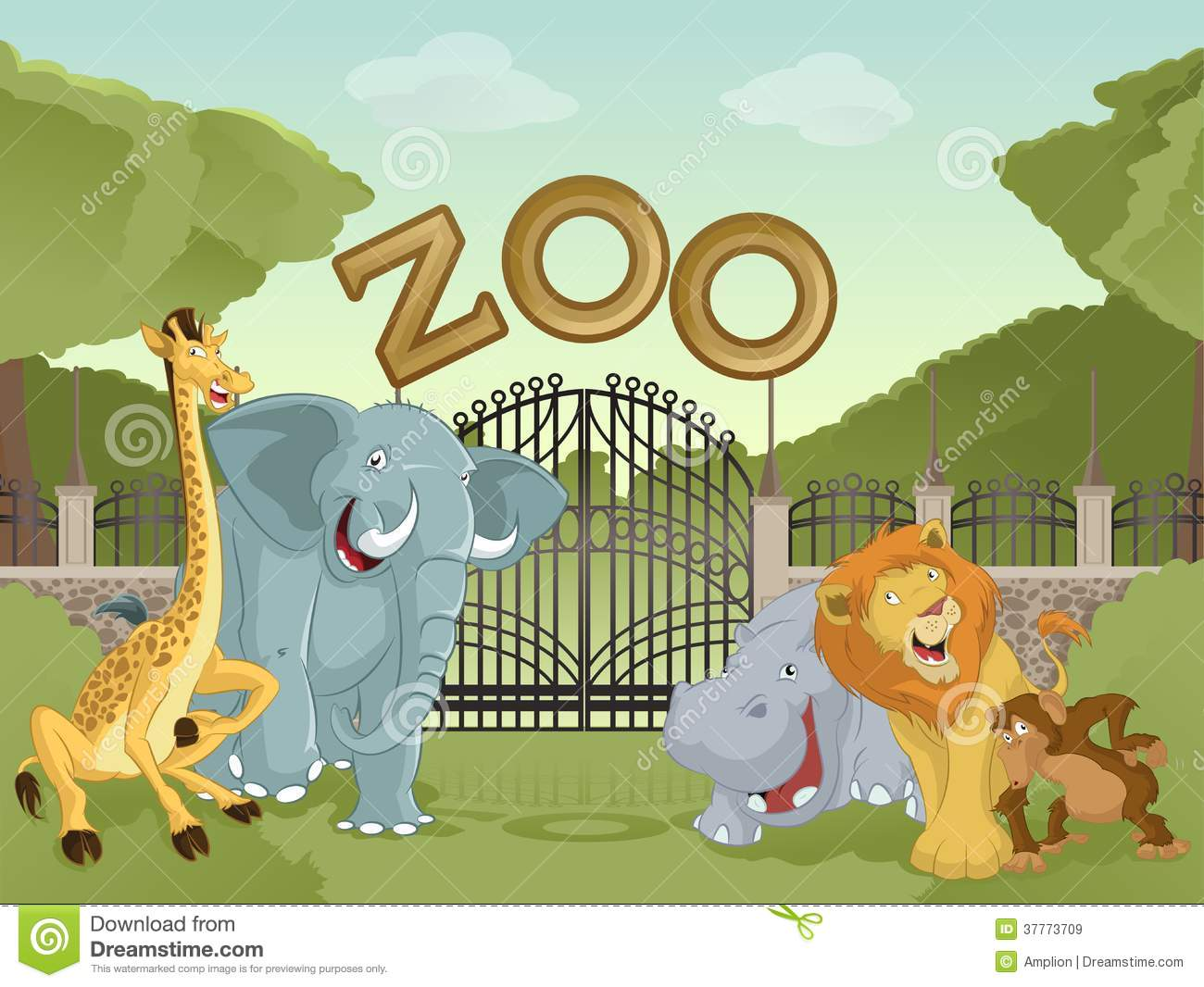hight resolution of vector image of cartoon zoo with animals stock illustration