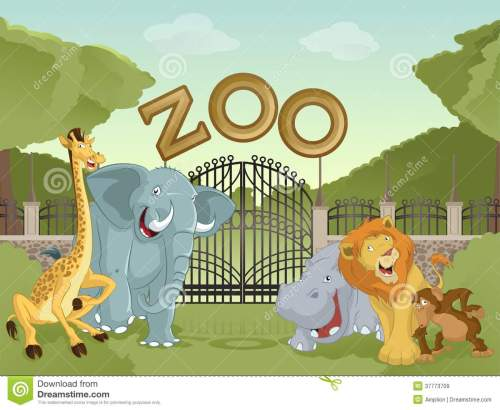 small resolution of vector image of cartoon zoo with animals stock illustration