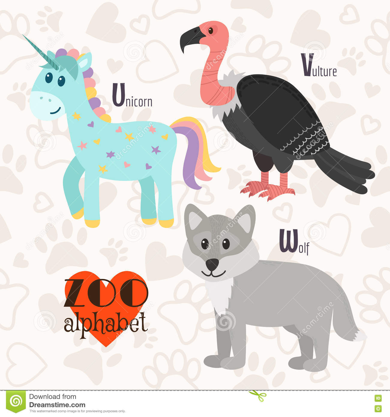 Illustration Isolated Alphabet Letter U Unicorn V Vulture Vector Illustration