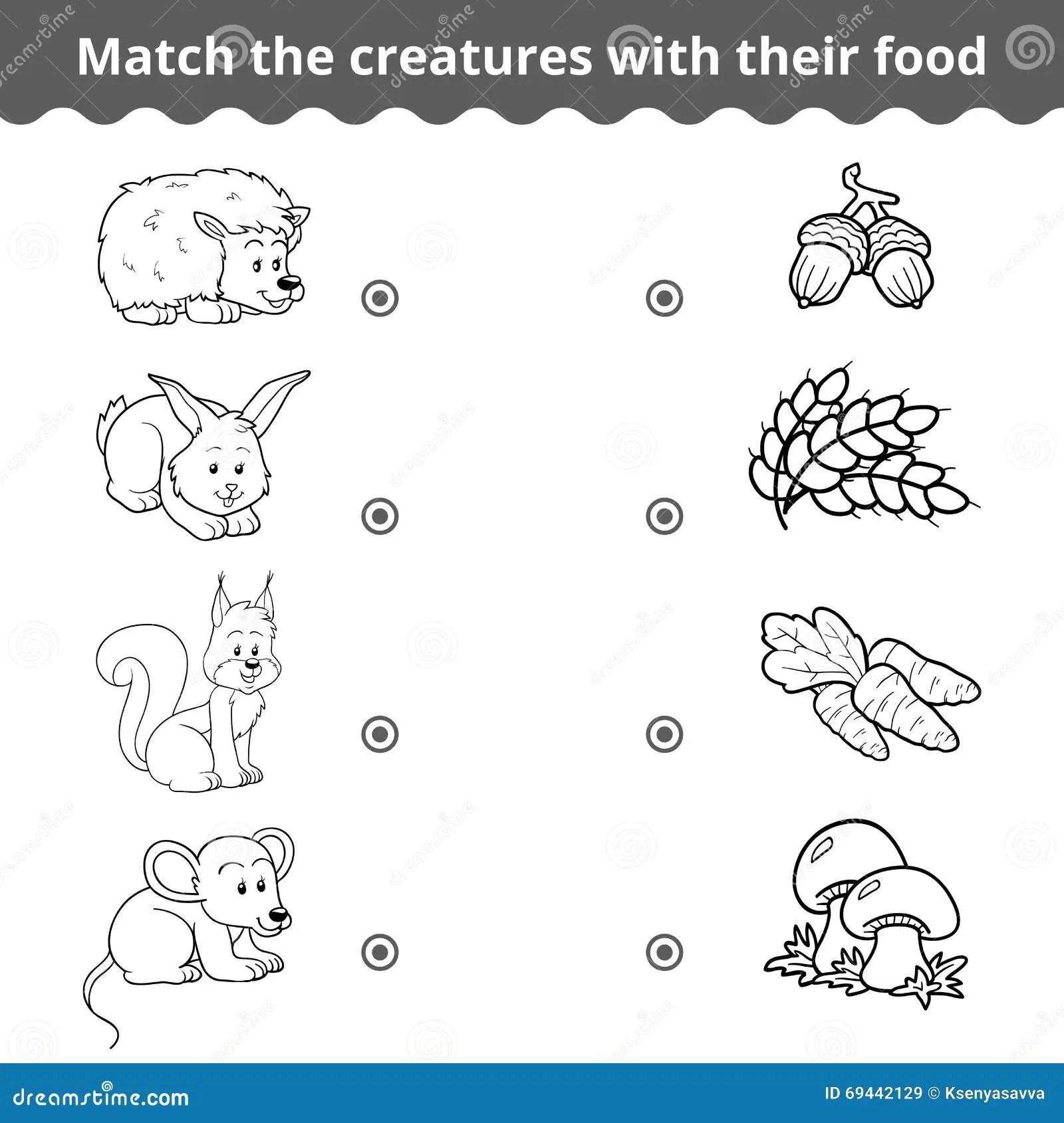 Zusammenpassendes Spiel Fur Kinder Waldtiere Und
