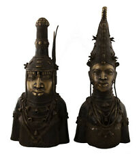 BRONZE BENIN COUPLE ROYAL- BINI EDO-OBA-NIGERIA-ART AFRICAIN -1220