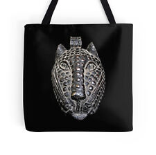 EXCLUSIVE AFRICAN BENIN BRONZE LEOPARD HEAD MASK DESIGN TOTE BAG ~ Stunning