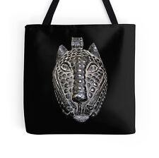 EXCLUSIVE AFRICAN BENIN BRONZE LEOPARD HEAD MASK DESIGN TOTE BAG ~ Stunning