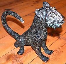 Old African Benin Kingdom Bronze Sitting Leopard Lost Wax Statue, Nigeria Africa