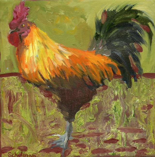 proud rooster oil painting