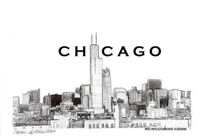 chicago skyline chicago art