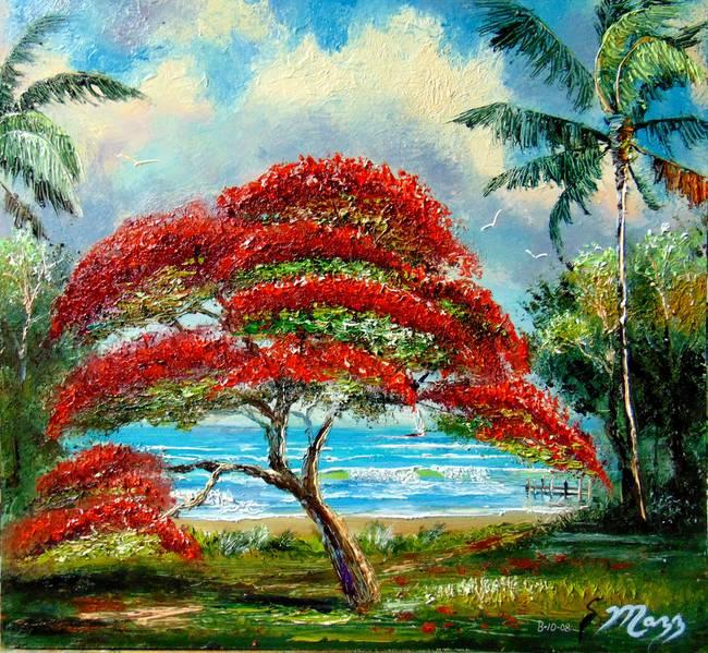 royal poinciana tree painting