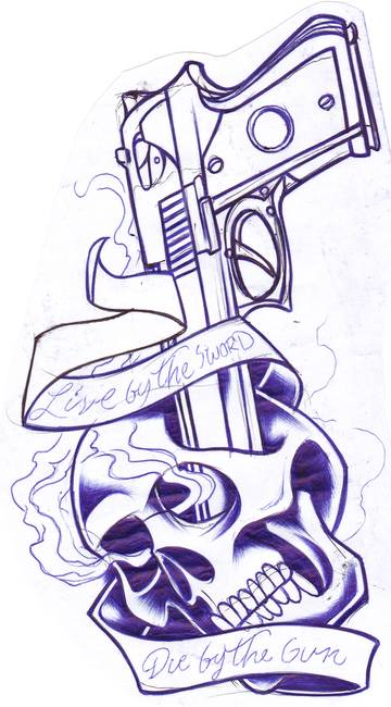 skull and gun by