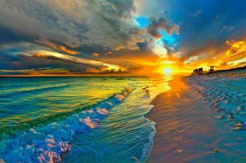 sunset seascape art print blue