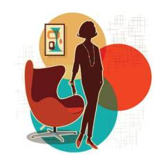 Mid Century Egg Chair Hanging Chairs Without Stand Modern Print By Diane Dempsey