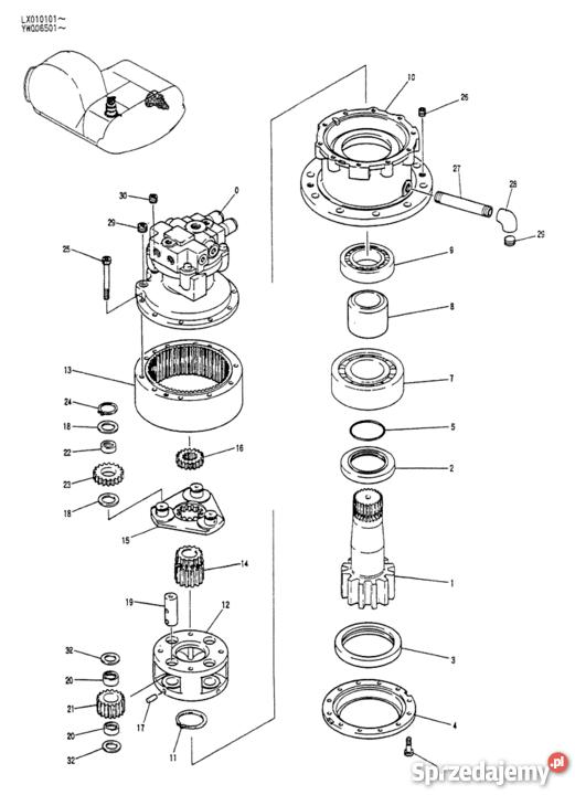 YW32W01002P1 wałek obrotu Kobelco do silnika YW32W00004F1