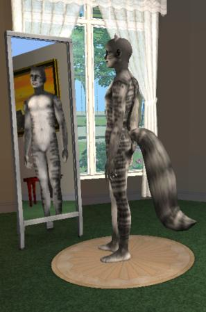 Mod The Sims  Two Tabby Fox Tails in Grey and Orange for
