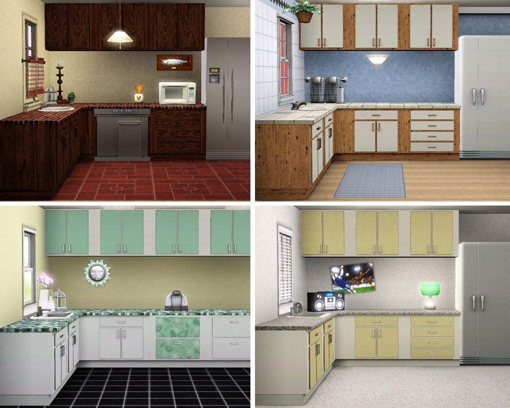 Mod The Sims  Simple Kitchen  Counters Islands Cabinets