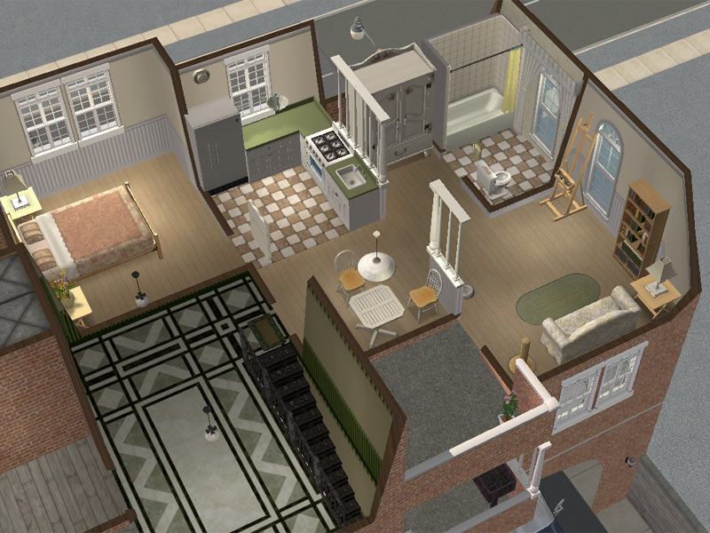 Mod The Sims  Backdoor Lane 57  Urban Apartment House