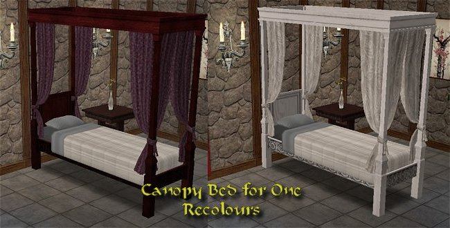 Mod The Sims Single Canopy Bed UPDATED 82105