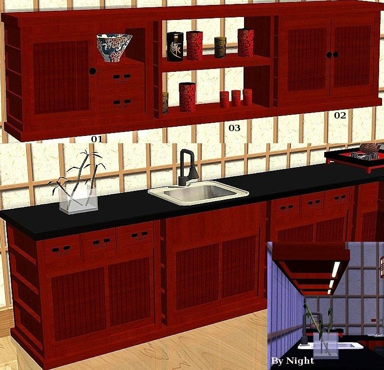 Mod The Sims  JapaneseInspired Kitchen Set Sushi 13
