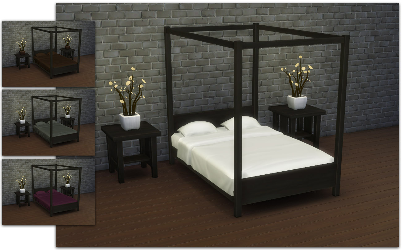 modern four poster double bed
