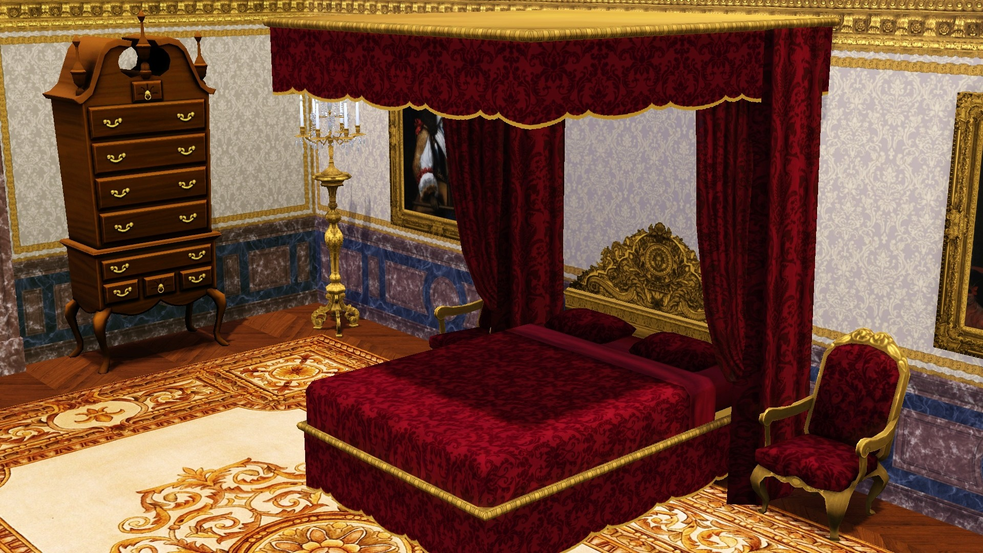 Mod The Sims  Louis XIV Canopy Bed  1 Story Version