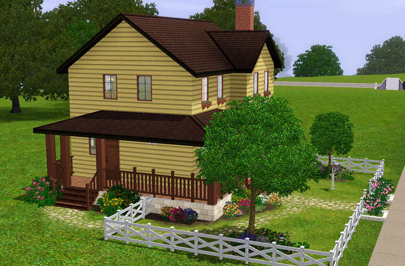 formal living room with brick fireplace sofa set pictures mod the sims - cozy farmhouse 3 bed / 2 bath