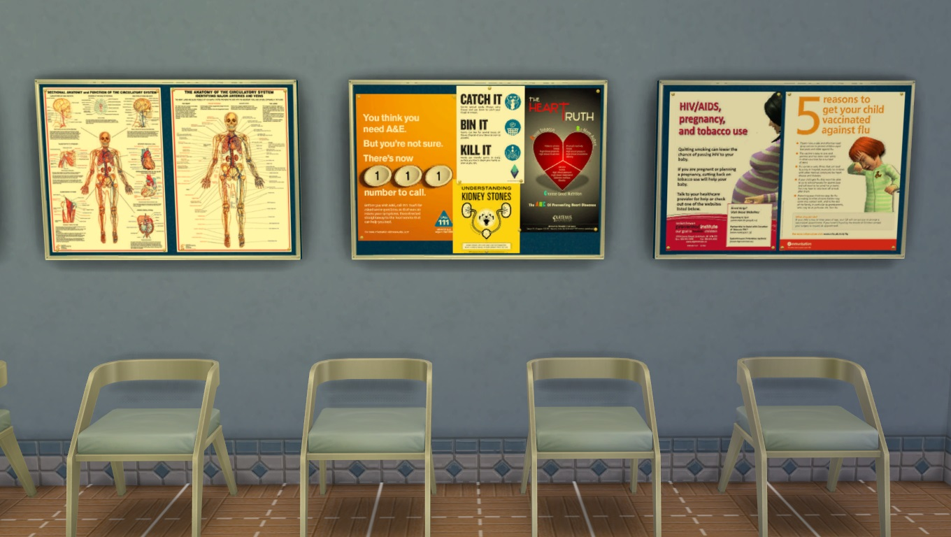 Mod The Sims  Get to Work Decorative Hospital Wall Clutter