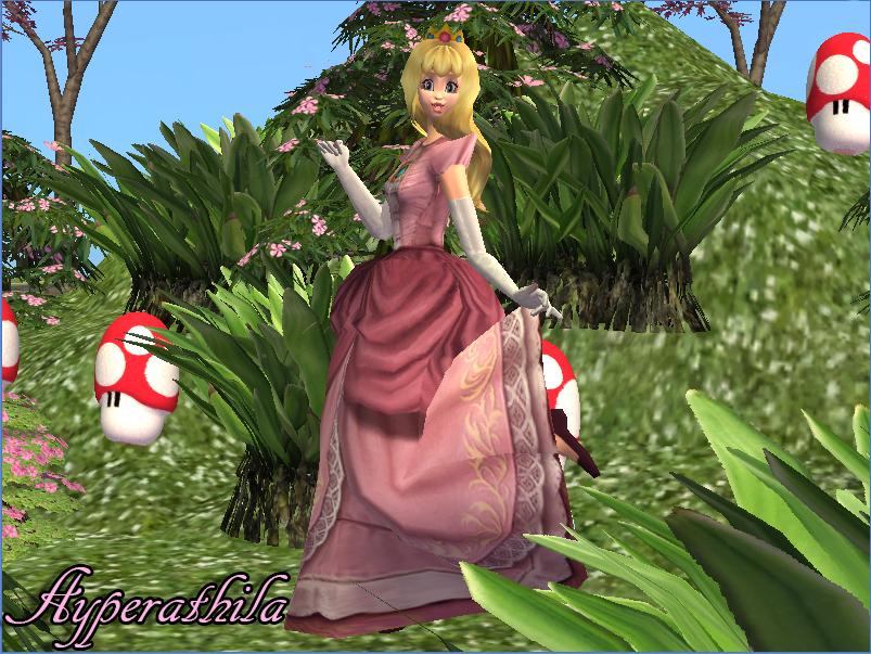 Mod The Sims Princess Peach Sim Dress Crown Hair And