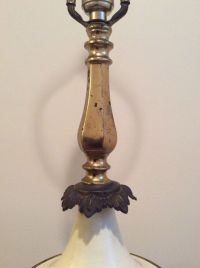 Vintage Mid Century WILMAR Table Lamp Brass & White ALL